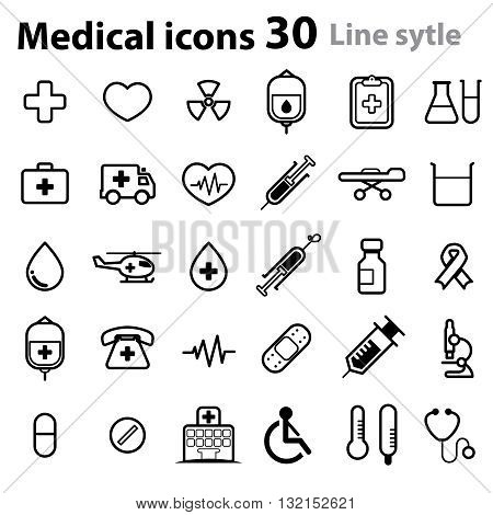 Medical Icons_line style (cross, heart, niddle, blood, hospital, chart...)