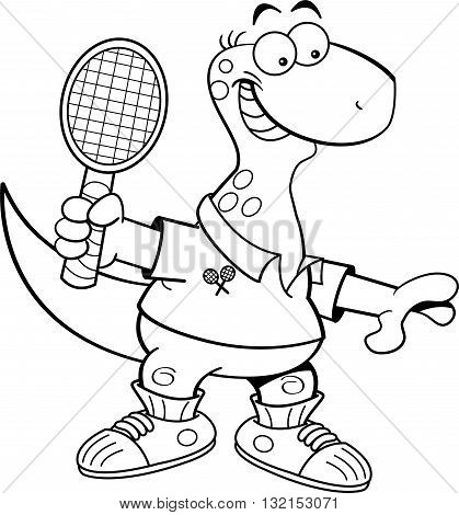 Black and white illustration of a brontosaurus playing tennis.