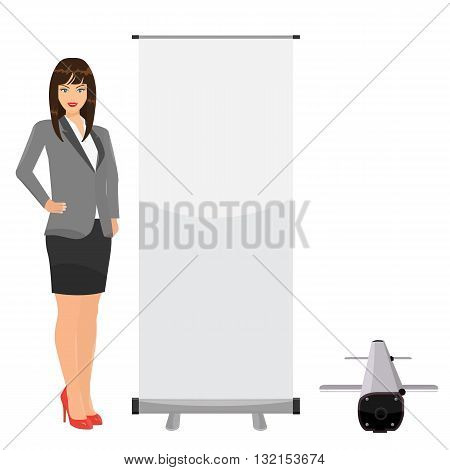 Vector Blank roll up banner for your display mockup template with solid flat color design isolated on solid background. Business lady posing standing beside Rollup