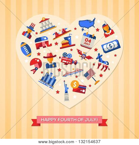 Modern vector USA Independence Day greeting card with famous American symbols heart composition. Happy fourth of July.