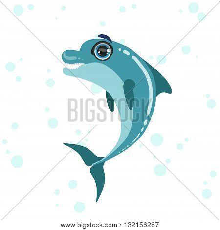 Bottlenose Dolphin Bright Color Cartoon Style Vector Illustration Isolated On White Background