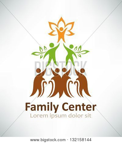 Family center logo design. Family tree logotype concept icon.