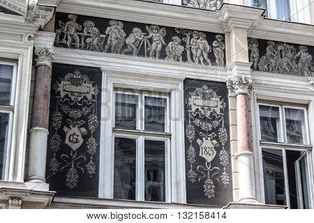Austrian building facade with chromatic artistic details