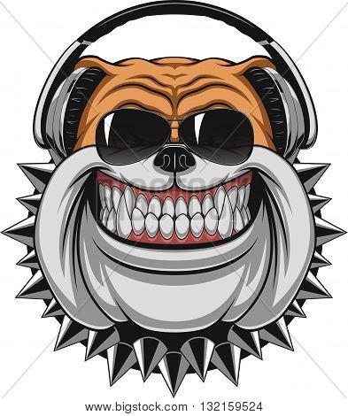 Vector illustration of funny bulldog wearing headphones listening to music smiling