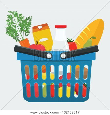 Supermarket basket full of fresh products bread vegetables. Food shopping basket with natural and organic food with flat color style