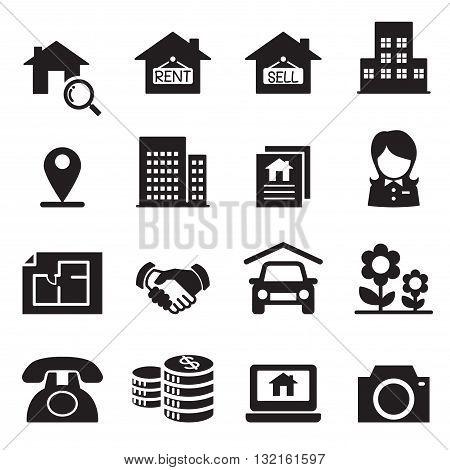 Real estate icons Vector illustration symbol set