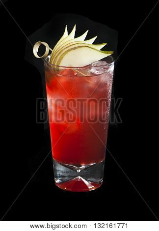 Johnnie Highball alcohol coctail on black background made of whiskey cranberry water pear syrup and lime juice poster