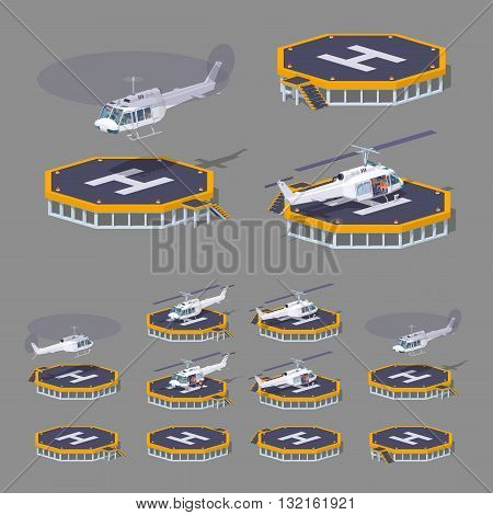 Heli pad. 3D lowpoly isometric vector illustration. The set of objects isolated against the grey background and shown from different sides