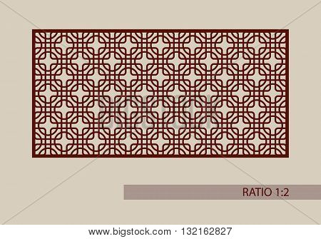 Geometric ornament. The template pattern for decorative panel. A picture suitable for printing engraving laser cutting paper wood metal stencil manufacturing. Vector. Easy to edit