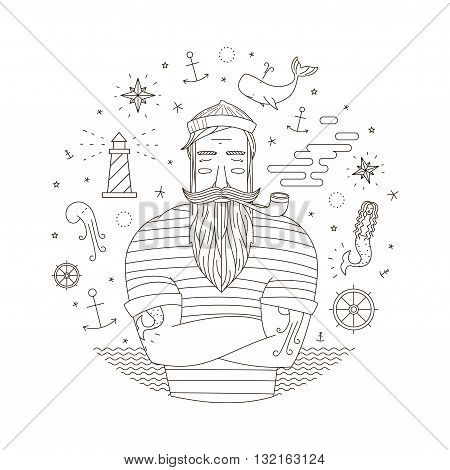 Black and white illustration of a sailor in the style of an old tattoo. Print seaman with a pipe. Anchor illustrations mermaid with moyakom