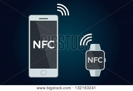 Mobile payments and near field communication. Transaction and paypass and NFC. illustration. phone and smart watch