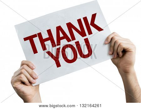 Thank You placard isolated on white background