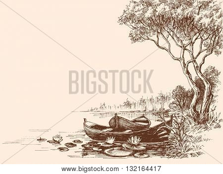 Boats on shore, delta graphic