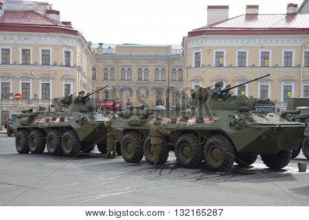 SAINT-PETERSBURG, RUSSIA - MAY 05, 2015: Preparation of the BTR-82a on the bridge to the beginning of the parade rehearsal Victory Day