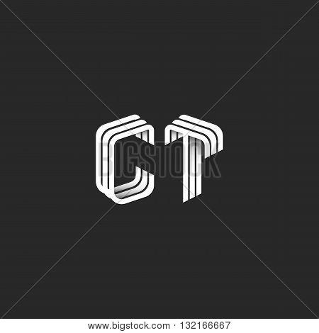 Isometric Monogram Initials Ct Logo For Business Card, Design Element Decoration Combination Letters