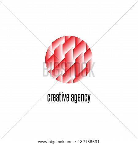 Interweaving Lines Pattern Circle Logo, Intersection Geometric Shape Design Element, Creative Agency