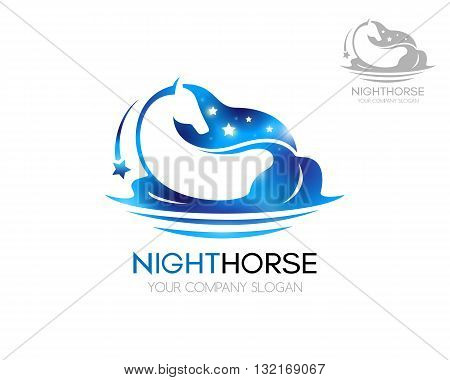 Horse logo. Blue horse with shiny stars. Logo vector template of blue horse in water with falling star on a white background