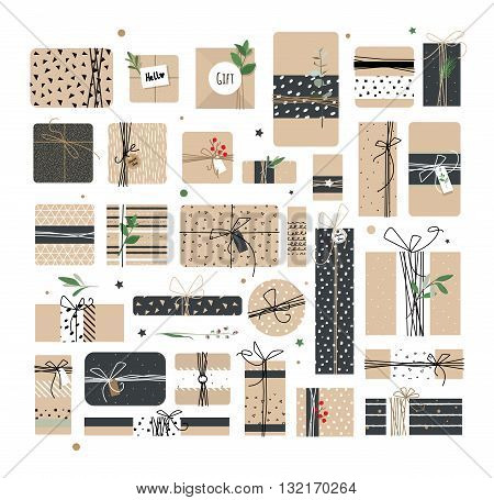 Big set of different boxes of Kraft. Illustrations courtesy of packages for the holiday. You can use postcards banners backgrounds.
