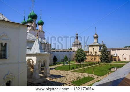 ROSTOV, RUSSIA - JUNE 3 2013: Rostov Kremlin. This is Episcopal Yard with churches and fortress wall.