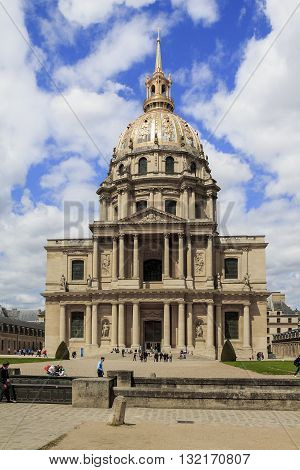 PARIS, FRANCE - MAY 11, 2013: This is Cathedral Invalides - cathedral St. Louis which is shrine of imperator Napoleon Bonaparte.