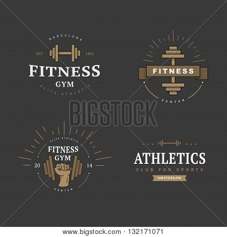 A set of logos for the gym premium. Retro style emblems for athletics. Vetor.