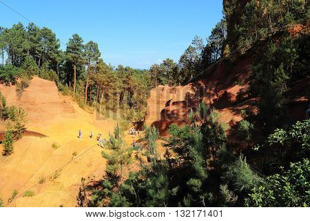 ROUSSILLION FRANCE - MAY 17 2015: There are former ocher quarries near village Roussillion in Provence.