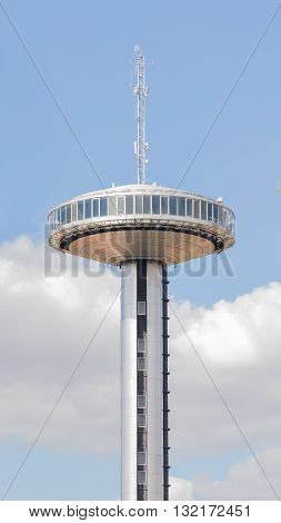 Madrid - 7 October 2015: Beautiful metal unusual Moncloa tower - a tower height of 100 meters with a viewing platform at the Plaza de Moncloa in Madrid October 7 2015 Madrid Spain