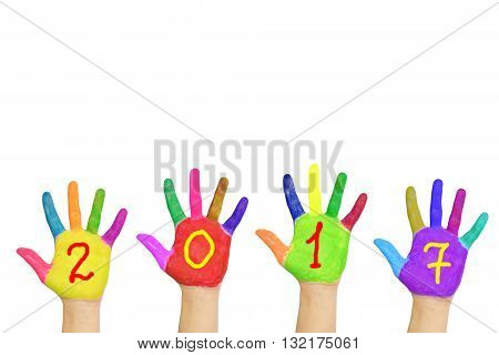 Kids colorful hands forming number 2017. Isolated on white background. The symbol of the new year