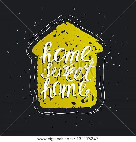 hand lettering typography poster, home decoration, home sweet home