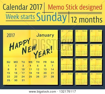 2017 year calendar. Template calendar with place for text, yellow stick design. Week start sunday. Vector illustration.