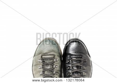 Shoes before and after handling shoe polish