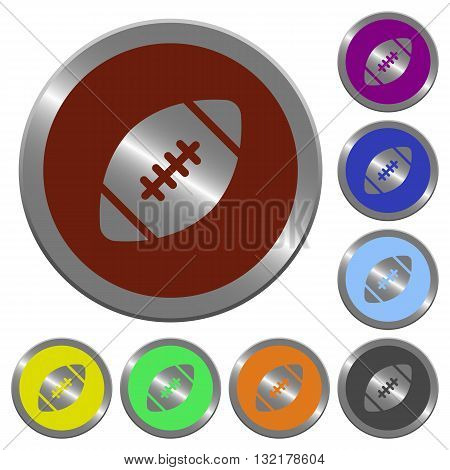 Set of color glossy coin-like rugby ball buttons.