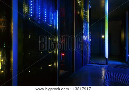 futuristic look of the room with mainframe in the data center. server room.
