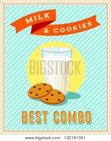 Best combo - vintage restaurant sign. Retro styled poster with glass of milk and cookies. Vector illustration, eps10.