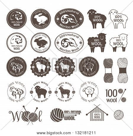 Wool labels. Set of sheep rabbit and goat wool stickers. Signs and emblems for natural wool products.