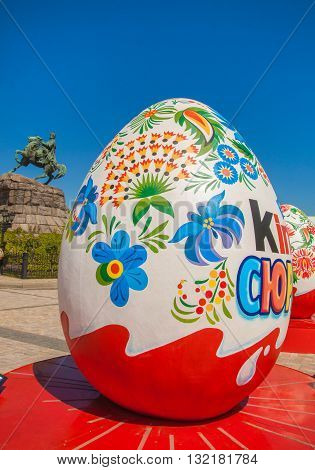 KYIV UKRAINE - APRIL 28 2016: All-Ukrainian festival of Easter eggs by ethnocultural project Folk Ukraine on Sophia Square in the centre of Kiev Ukraine. April-may 2016