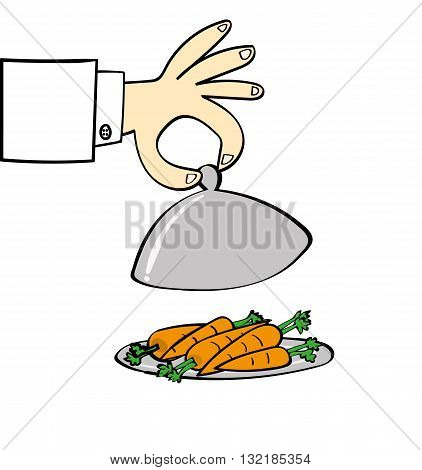 Hand of a chef lifting the lid on a silver food serving dish to reveal a pile of carrots as part of your healthy diet