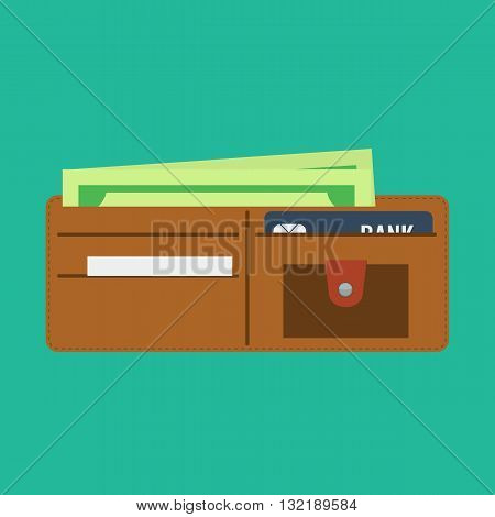 Wallet open in flat color style and money in it. Wallet with credit bank card. Wallet full of money.