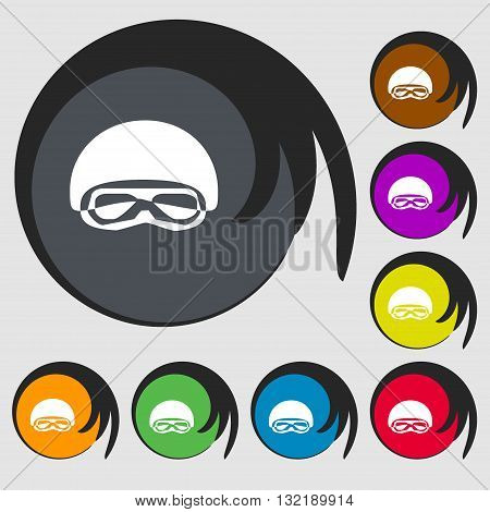 In A Ski Masks, Snowboard Ski Goggles, Diving Mask Sign Icon. Symbols On Eight Colored Buttons. Vect
