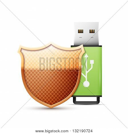 usb flash drive with shield, Data Protection. Vector Illustration.