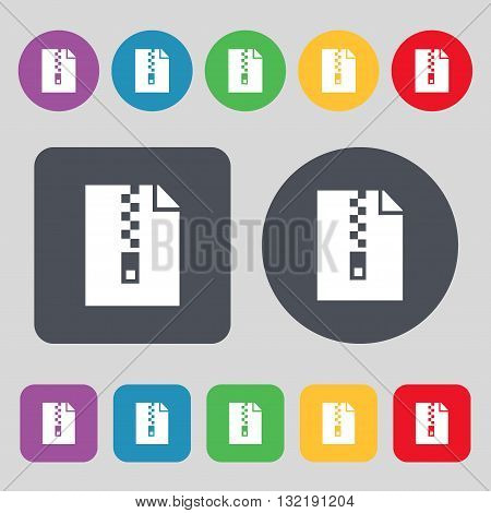 Computer Zip Folder, Archive Icon Sign. A Set Of 12 Colored Buttons. Flat Design. Vector