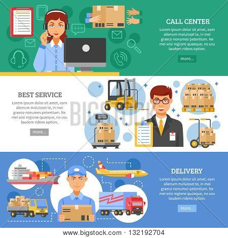 Three horizontal logistics delivery banner set on different themes call center best service and delivery vector illustration