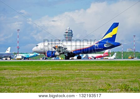 ST PETERSBURG RUSSIA - MAY 11 2016. VP-BBU Donavia Airbus A319-111 airplane is riding on the runway after landing in Pulkovo International airport