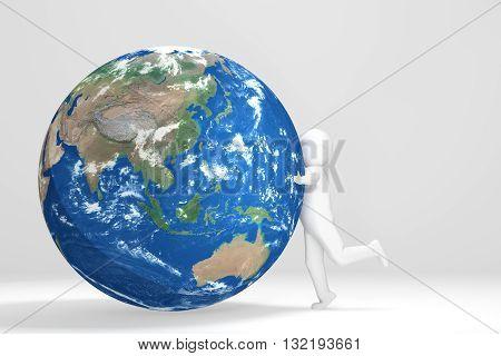 3d Man hugs Earth - Asia Oceania Edition