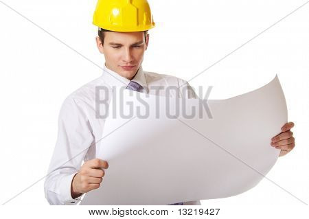 Young handsome builder isolated on white