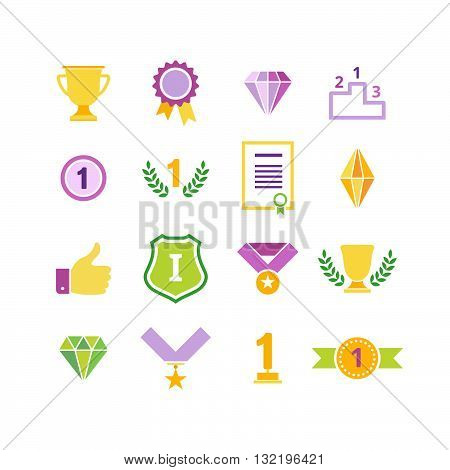 Beautiful Colorful Awards Icons. Vector Set of Prizes and Trophy Signs. Flat Designs for Labels Badges and Logos.