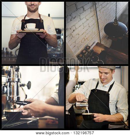 Coffee Cafe Bar Barista Apron Drinking Barista Concept