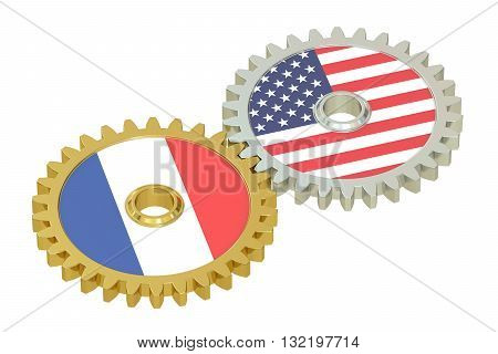 France and United States relations concept flags on a gears. 3D rendering isolated on white background