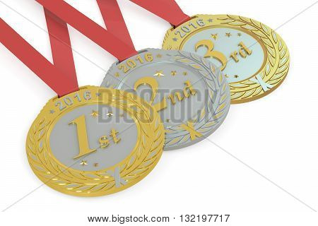 Gold Silver and Bronze medals 2016 3D rendering isolated on white background