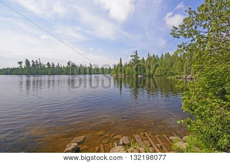 View of from the End of the Portage onto Horseshoe Lake in the Boundary Waters in Minnesota